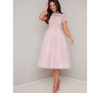 NWT Chi Chi London Pink High Neck Tulle Midi Dress